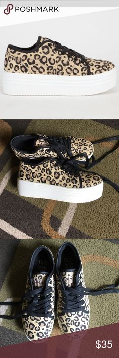 """Cute to the Core platform sneakers Style is """"Blyke""""  cheetah print 1.5"""" platform sneakers  a couple of marks on outer left shoe platform  Cute to the Core Shoes Sneakers"""