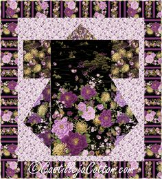 """Pattern to make a kimono lap/throw quilt using a panel. Pieced panel quilt pattern. Fabric shown in the sample is Timeless Treasures Fabrics Majestic. Finished Size: Lap/Throw 58 x 64"""" Skill Level: Intermediate Technique: Pieced"""