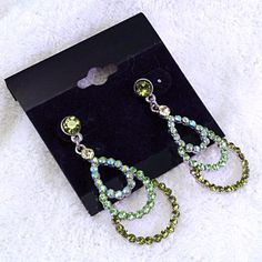 Olivine Crystals with AB Accent Stones on Small Chandelier Earrings