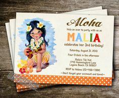 Vintage Luau Girl Invitation pool tiki tropical party hibiscus hut Hawaiian birthday invite retro