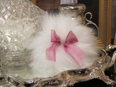 Handmade Wool Powder Puff with hand dyed Variegated Pink silk Ribbon