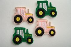 Farm Tractor - 4 Machine Embroidered Felt Embellishments / Appliques. $3.20, via Etsy.