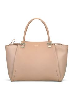 Trilogy Leather Tote Bag, Beige by Lanvin at Bergdorf Goodman.