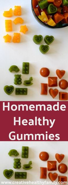 If you are concerned about giving your kids healthy food options Homemade Healthy Gummies are the way to go. Real fruits, veggies and no refined sugar. Love,  love, love! Homemade snacks are the best for your family! #healthy #homemade #gummies #healthysnack #healthykids #love #easy #snacks #realfood via @creativehealthyfamily