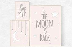 We love you to the moon and back, pink nursery art, star nursery decor, nursery decor, powder pink, moon nursery, baby girl nursery wall art