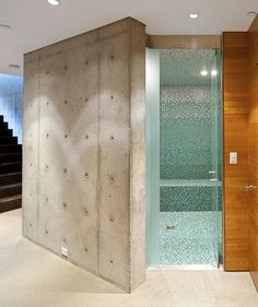 ex of mosaic ombre tile installation in shower/back wall  Whistler residence by Battersby Howat