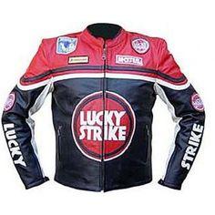 Red Color Lucky Strike Racing Motorbike Biker Leather Jacket  leather jacket, men leather jacket, biker leather jacket, fashion, motorcycle leather jacket, handmade, style, UK, USA, Canada
