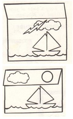 Jesus Calms the Storm-- fold a part of the page to have either a clear moon or clouds and lightning