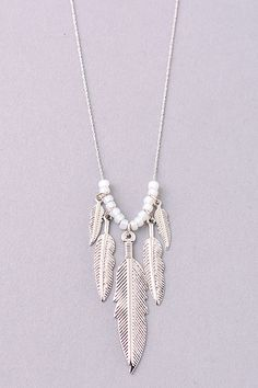 Boho Feather Charm Necklace. - Necklaces