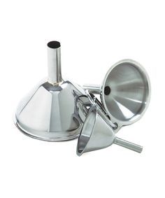 Norpro Funnel - Set of Three | zulily  . $9.99 $14.00 Product Description:  These shiny stainless steel funnels fill small bottles with ease and boast long-lasting durability to boot.      Includes three funnels     Small: 1.5'' diameter     Medium: 2'' diameter     Large: 2.75'' diameter     Stainless steel     Hand wash     Imported