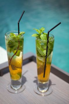 Tropical drinks, but on the beach, not poolside