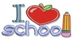 I {heart} School Filled Design - 2 Sizes!   back-to-school   Machine Embroidery Designs   SWAKembroidery.com Bunnycup Embroidery