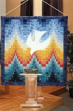 For some years, I served on the liturgical art team at church. We were a brand new congregation then, without our own building, and m. Bargello Quilt Patterns, Bargello Quilts, Church Banners Designs, Church Design, Baptism Banner, Liturgical Seasons, Cross Quilt, Pentecost, Christian Art