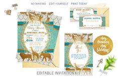 Gold Safari Baby Shower Invitation Kit, African Jungle Turquoise and Gold Editable Invite Template B