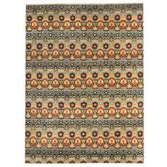Herat Oriental Afghan Hand-knotted Vegetable Dye Ikat Wool Rug (9' x 12'1) (Handmade Ikat Wool Rug), Black (Natural Fiber, Floral)