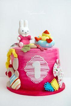 cake for baby girl 1`st birthday - Cake by Alina Vaganova