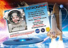 Personalize Astronaut Invitation, Astronaut Party, Alien Invite, ADD Space Man Helmet