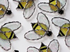 Stained+Glass+Suncatcher++Yellow+Honey+Bee+with+Clear+by+GLASSbits,+$14.00