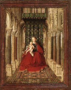 ❤ - JAN VAN EYCK (1395-1441) - Small Triptych, The Virgin and Child in a Church (a portable altar), detail - 1437. Alte Meister Galerie - Der Zwinger, Dresden, Germany.