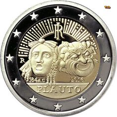 N♡T. 2 euro: 2200th Anniversary of the Death of Tito Maccio Plauto Italy Mintage year:2016 Face value:2 euro Diameter:25.75 mm Weight:8.50 g Alloy:Bimetal: CuNi, nordic gold Quality:Proof, BU, UNC Mintage:1.5 mil. pc