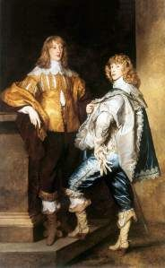 The gentlemen pictured here are wearing mens breeches. Breeches were worn by men in the Baroque period and are comparable to modern day pants. They normally reached down to knee length.