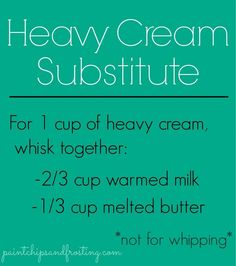 Heavy Cream Substitute - Good to know! My family is always needing heavy cream. NOT FOR WHIPPING. As it said, not for whipping but wonderful sub in baking & cooking (certain recipes) Microwave Caramels, Do It Yourself Food, Cooking Measurements, Mantecaditos, Food Substitutions, Kitchen Helper, Baking Tips, Baking Secrets, Kitchen Hacks