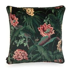 Introduce the allure of the exotic into your cushion collection with this boldly printed 'Paradisa' design in rich spruce-green. Exquisitely crafted from British velvet and patterned with parrots and greenery, it's a piece you'll treasure for years to com Luxury Cushions, Velvet Cushions, Cushions On Sofa, Throw Pillows, Diy Cushion, Pretty Bedroom, Printed Cushions, Pink Room, Houses
