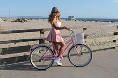 Cotton Candy PINK Beach Cruiser Bicycle - Venice Beach Bicycles