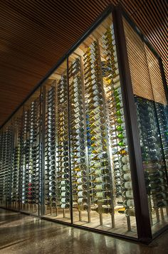 "This showcase wine cellar, custom designed and installed by IWA for Look Cinema in Dallas Texas, features insulated glass, display racking, and specialized HVAC equipment, The owners call it ""the jewel of LOOK Cinema"" because of the measurable increase in wine sales at the adjacent Nick & Sam's restaurant. #IWAwine"