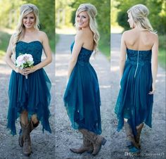 Country Bridesmaid Dresses 2016 Short Hot Cheap For Wedding Teal Chiffon Beach Lace High Low Ruffles Party Maid Honor Gowns Under 100 Two Tone Bridesmaid Dresses Vintage Inspired Bridesmaid Dresses From Haiyan4419, $89.45  Dhgate.Com