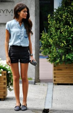 Button up denim shirt with mandarin collar & leather shorts with funky flats! So chic.