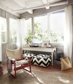 curtains, painted wood porch