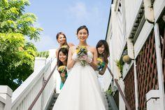 ブライズメイド・コットンボイル・フリルベアドレス。軽さのあるコットンボイルと大きなフリルがキュートなグリーンドレス。 #Bridesmaid #Dress #Green #Wedding