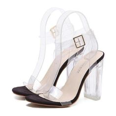 Women Sandals Ankle Strap Perspex High Heels PVC Clear Crystal Shoes ($32) ❤ liked on Polyvore featuring shoes, sandals, ankle tie sandals, sexy sandals, ankle strap platform sandals, low heel platform sandals and low heel sandals