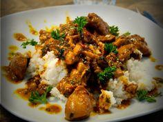Kruidige kip in kokosmelk met rijst - MCAS: low hestamine diet - I Love Food, Good Food, Yummy Food, Good Healthy Recipes, Healthy Cooking, Low Carb Brasil, Grilling Recipes, Cooking Recipes, Rabbit Food