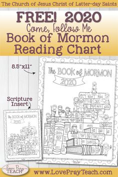Free 2020 Come, Follow Me Book of Mormon Reading Chart for Families and Primary! www.LovePrayTeach.com
