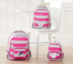 Fairfax Gray Pink Stripes Backpack