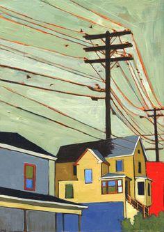 Prospect by Stacey Durand - Artwork Urban Landscape, Landscape Art, Cityscape Drawing, Diy Canvas Art, Naive Art, Gravure, Figure Painting, Urban Art, Paintings I Love