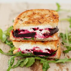 Getting adventurous on National Grilled Cheese Day with this Beet, Arugula & Goat Cheese Grilled Cheese Sandwich