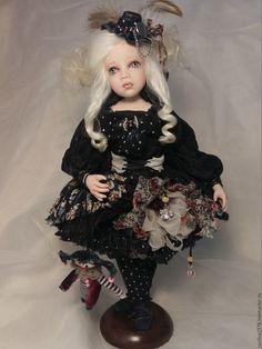 Купить Мэгги - черный, клоунесса, стимпанк стиль, авторская кукла, коломбина, подарок, арлекин