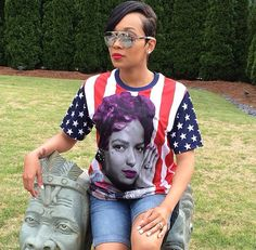 'Monica' Brown Wonderful to see a Black women rocking a Black Woman on her Tshirt! Pay Homage!