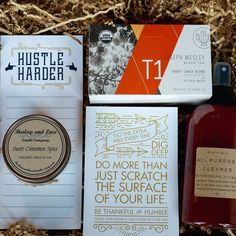 The Bravo Bundle - A perfect gift for a birthday, housewarming, promotion, party hostess or just because. Items included: All Purpose Cleaner by Change Soap, Organic Black Tea Sachets by Joseph Wesley Black Tea, Sweet Cinnamon Soy Candle by Burlap & Lace Candle Company, and a Hustle Harder Notepad & Bravo Print by Small Moments.