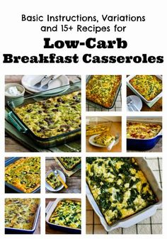 Basic Instructions and 15+ Recipes for Low-Carb Breakfast Casseroles (South Beach Phase One, Gluten-Free) [from KalynsKitchen.com] #DeliciouslyHealthyLowCarb