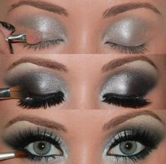 this silver & black effect on the eye shadow is amazing!  this would be a great shadow to wear out on the town!