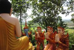 Buddha and god statues on Phnom Sambok, a small on the way between Kampi dolphin pool and Kratie Town