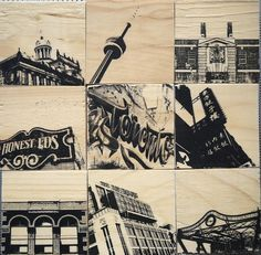 New to dustonmyboots on Etsy: Toronto Landmarks set of 9 handmade block photo artworks print bridge architecture tower sign art deco inspirational quote graffiti CAD) Green Dome, Inspirational Signs, Artwork Prints, Graffiti, Art Deco, Tower, Wall Art, Brick Houses, Boots