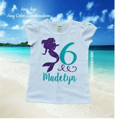 Mermaid Birthday Shirt Girls Mermaid by RSSCustomCreations on Etsy Little Mermaid Birthday, Little Mermaid Parties, The Little Mermaid, Girl Birthday, 6th Birthday Parties, Birthday Ideas, Mermaid Shirt, Under The Sea Party, Family Birthdays