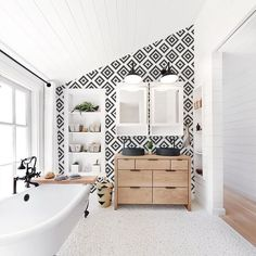 Traditional bathroom 575686764866142265 - Traditional scandinavian pattern wallpaper in a white boho interior – a perfect combination! Visit our site to see full Scandi boho wallpaper collection! Source by benoistmarion Traditional Interior, Contemporary Interior Design, Traditional Bathroom, Bathroom Interior Design, Decor Interior Design, Interior Decorating, Bathroom Designs, Traditional Wallpaper, Bathroom Ideas