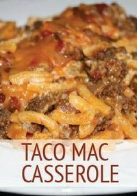 Casserole Taco Mac Casserole is a quick and easy dinner that the kids will request every week.Taco Mac Casserole is a quick and easy dinner that the kids will request every week. Casserole Taco, Casserole Dishes, Mac And Cheese Casserole, Chicken Casserole, Mexican Food Recipes, Great Recipes, Favorite Recipes, Gluten Free Recipes For Kids, Drink Recipes