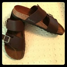 BIRKENSTOCK SANDALS ~ NWOT AUTHENTIC Original BIRKENSTOCK Betula Sandals Brown Genuine Leather Silver Buckles *New*  ***This is the final price on these***  *See size chart in pic 4 above... *These are in Euro size 37 which is US size 6 to 6.5  Firm price No offers Birkenstock Shoes Sandals